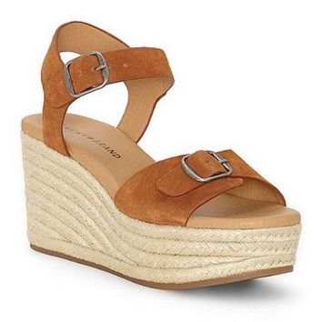 Lucky Brand Naveah Peanut Oiled Suede Wedge Sandal