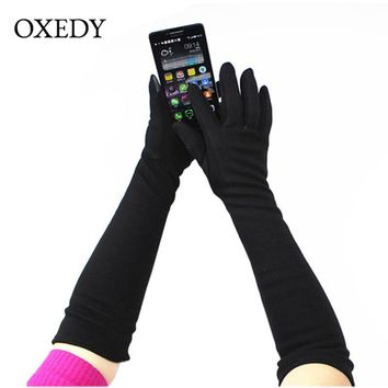 Elastic Elbow-Length Touch Screen Gloves