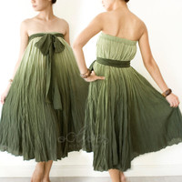 Maxi Cotton Strapless Dress in Dark Green by oOlives on Etsy