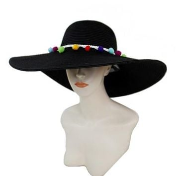 colorful chic pom pom accented sun hat