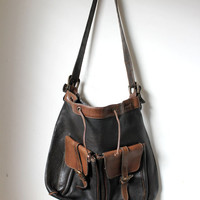 Old vintage 80's big leather bag school simple satchel black brown festival hipster buckles hippie