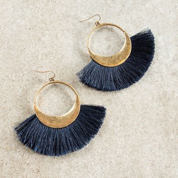 Layla Hoop Earrings - Navy