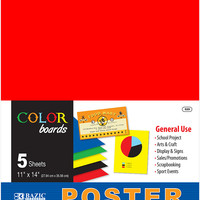 """bazic 11"""" x 14"""" multi color poster board (5/pack) Case of 48"""