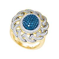 Blue Diamond Fashion Ring in 10k Gold 1.18 ctw