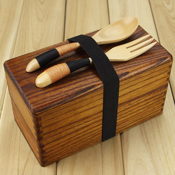Natural Wooden Lunch box Square Double Layer