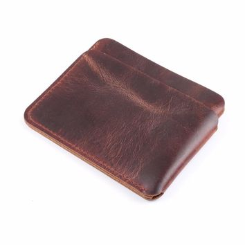 New Arrivals Credit ID Card Holder Brown Crazy Horse Leather Vintage Design Customized Business Men Women Wallet Free Shipping