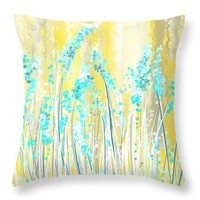 "Turquoise And Yellow Throw Pillow 14"" x 14"""