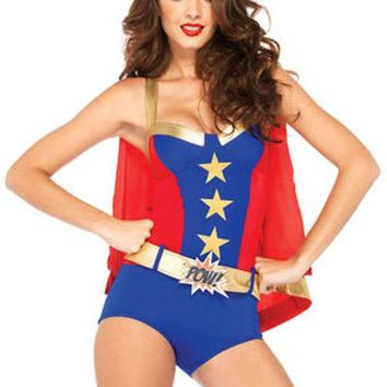 VONE5FW 4PC.Comic Book Girl,super hero romper ,belt,cape,headband in BLUE/RED