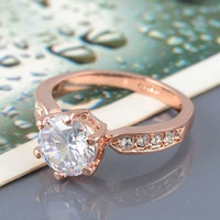 Kate Princess Wedding 18K Rose Gold/Platinum Ring
