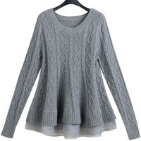 Grey Diamond Pattern Peplum Long Sleeve Sweater