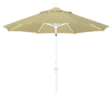 9 Foot Sunbrella 2A Fabric Aluminum Crank Lift Collar Tilt Patio Umbrella with White Pole