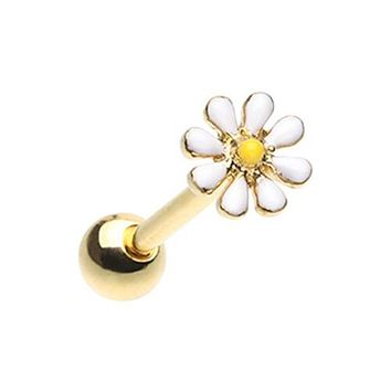 Golden Daisy Flower Barbell WildKlass Tongue Ring