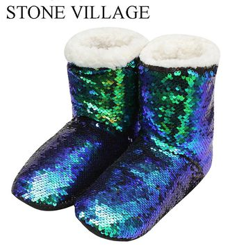 STONE VILLAGE Sequined Cloth Warm Plush Home Slippers Cute Bling Christmas Slippers Shoes Lovers Men And Women Slippers Shoes