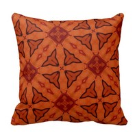 Red leaf and square pattern cushions
