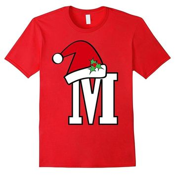 Santa Letter M T-Shirt Cute Christmas Monogram Spell Gift Cotton Short Sleeve Graphic Tops Oversized T Shirt Women Funny Tees