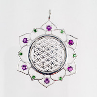 Sacred Geometry, Sterling Silver Flower of Life in Lotus with 12 Amethyst and Chrome Diopside Gems