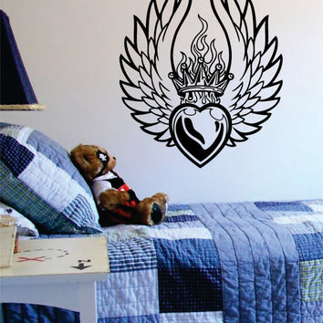 Heart Crown and Wings Tattoo Design Decal Sticker Wall Vinyl Decor Art