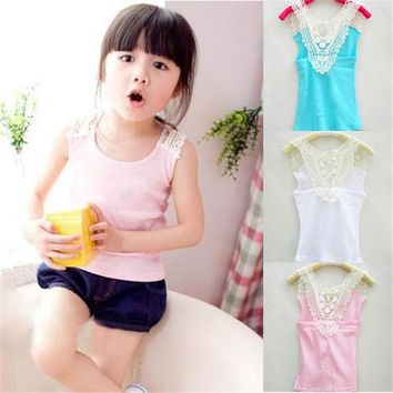 Summer 2017 Kids Girls Crochet Hollow Out Floral Tops T Shirts Vest T-shirts Candy Color 0-3Y