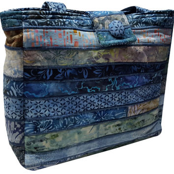 Large Batik Purse in Shades of Blue Fabrics