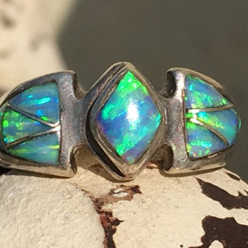 Opal Ring, Sterling Silver, Channel Inlay,Vintage
