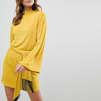 ASOS Kimono Sleeve Dress With Self Tie Fringe Belt at asos.com