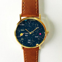 Constellation Watch, Planets Watch, Galaxy Watch, Women Watches, Boyfriend Watch, Men's watch, Ladies Watch, Gift,