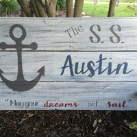 Nautical Nursery Decor | Anchor Decor | Rustic Nautical Decor | Baby Shower gift | Nautical Anchor Sign | Handpainted Reclaimed Wood Sign