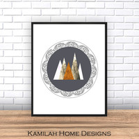 Mountain Art Print, Triangle Print, Printable Art, Geometric Art, Scandinavian Art, Geometric Wall Art, Abstract Art Print, Instant Download