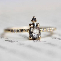 """14K Salt and Pepper Pear Diamond Ring, """"Silver Mist"""" Diamond Ring, Black And White Diamond, Rose Cut, Raw Diamond, Pave Setting, Unique Ring"""