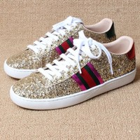 Gucci Women Fashion Shining Sequins Casual Sneakers Sport Shoes Gold