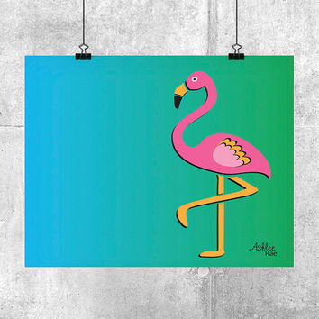 Flamingo Print - Printable Art for Baby Nursery, Kids Room or Modern Beach Wall Decor - Flamingo Art Print - INSTANT DOWNLOAD - Kids Decor