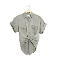 Vintage Washed Out Gray Green Cotton Shirt. Short Sleeve Faded Shirt. Button Up Boyfriend Shirt. Mens Short Sleeve Denim Shirt. Work Shirt.
