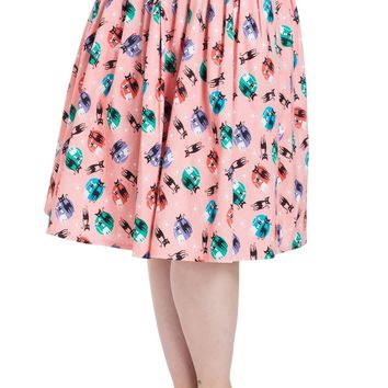 Kathy Retro Cat Printswing Skirt