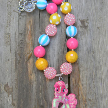 Pinkie Pie Pendant My Little Pony MLP Inspired Pinkie Pie , My Little Pony Inspired Necklace, MLP Necklace, Chunky Bead Necklace