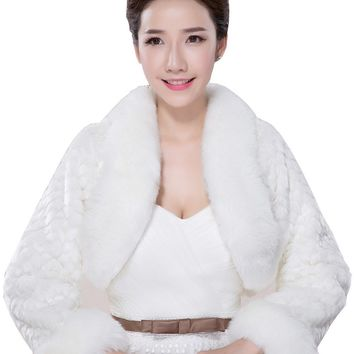 In Stock Wedding Accessory Faux Fur Black White Custom Made Bridal Coat Wedding Bolero Stoles Jacket Shrug Wraps LF34