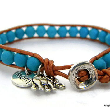 Mom Bracelet Magnesite Bracelet Leather Wrap Bracelet Single Wrap