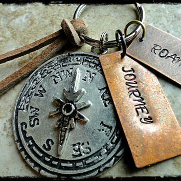 Roam Journey Copper and Silver Compass Charm Hand Stamped Keychain Key fob