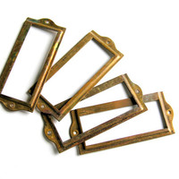 Antique Hardware Solid Brass File Drawer Label Holders Set of 4, More Available