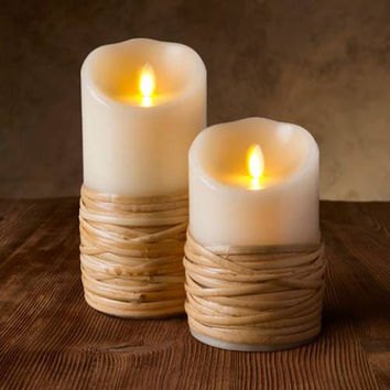 "Reed-Wrapped Pillar Candles - Unscented - 5"" or 7"""