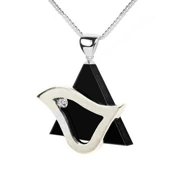 Star Of David Dove Jewelry Necklace Pendant - Black Onyx Stone