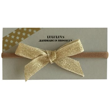 LULULUVS Brooklyn Yellow Gold Shimmer Bow Headband