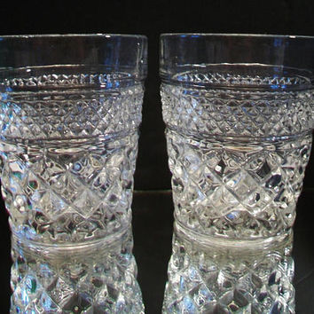 Vintage Low Ball Cut Glasses Old Fashioned Cocktail Holiday Barware Dining Entertaining Home Bar
