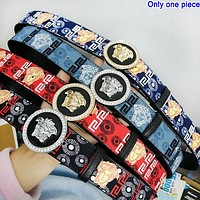Versace fashion contrast print belt  hot seller for men's and women's casual belts