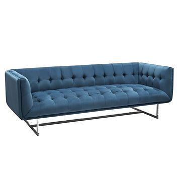 Hollywood Tufted Sofa in Royal Blue Velvet with Metal Leg