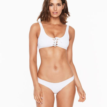 L*Space Romi Lace Up Bikini Top | White