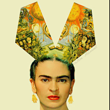 Frida Kahlo Poster or Small Instant Digital Download Moses Print Modernist Boho Mixed Media Modern Home Decor Orange Black White Blue Yellow