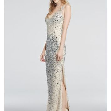 Crystal Bead Encrusted Illusion V-Neck Prom Dress - Davids Bridal