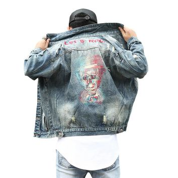 Streetwear Style Frayed Hole Skulls Denim jackets Men Vintage Lets Rock Embroidery Cowboy Coat Loose Outerwear