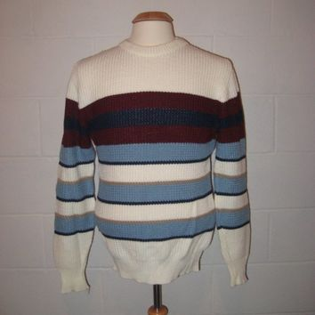 Vintage Men 80s Striped Pullover Sweater / Winter Fashion / M / L