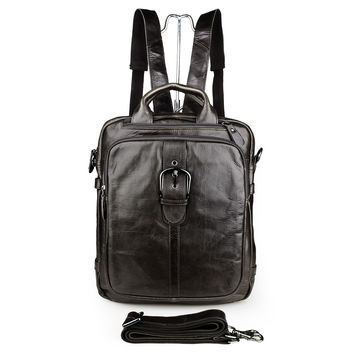 Genuine Leather Business Backpack Travel School Bag_Men's Leather Bags
